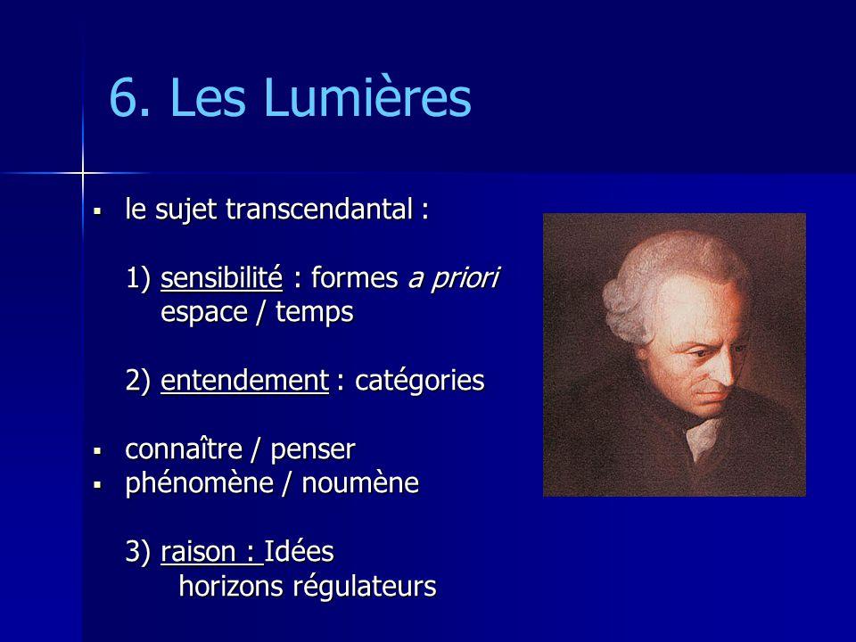 6. Les Lumières le sujet transcendantal : le sujet transcendantal : 1) sensibilité : formes a priori espace / temps espace / temps 2) entendement : ca