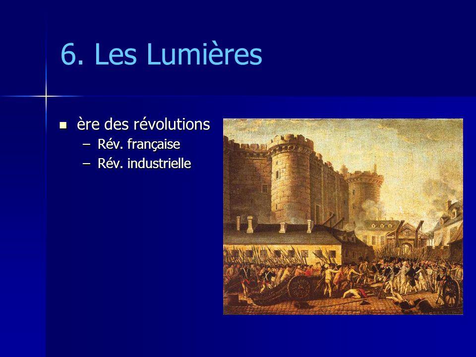 6. Les Lumières ère des révolutions ère des révolutions –Rév. française –Rév. industrielle