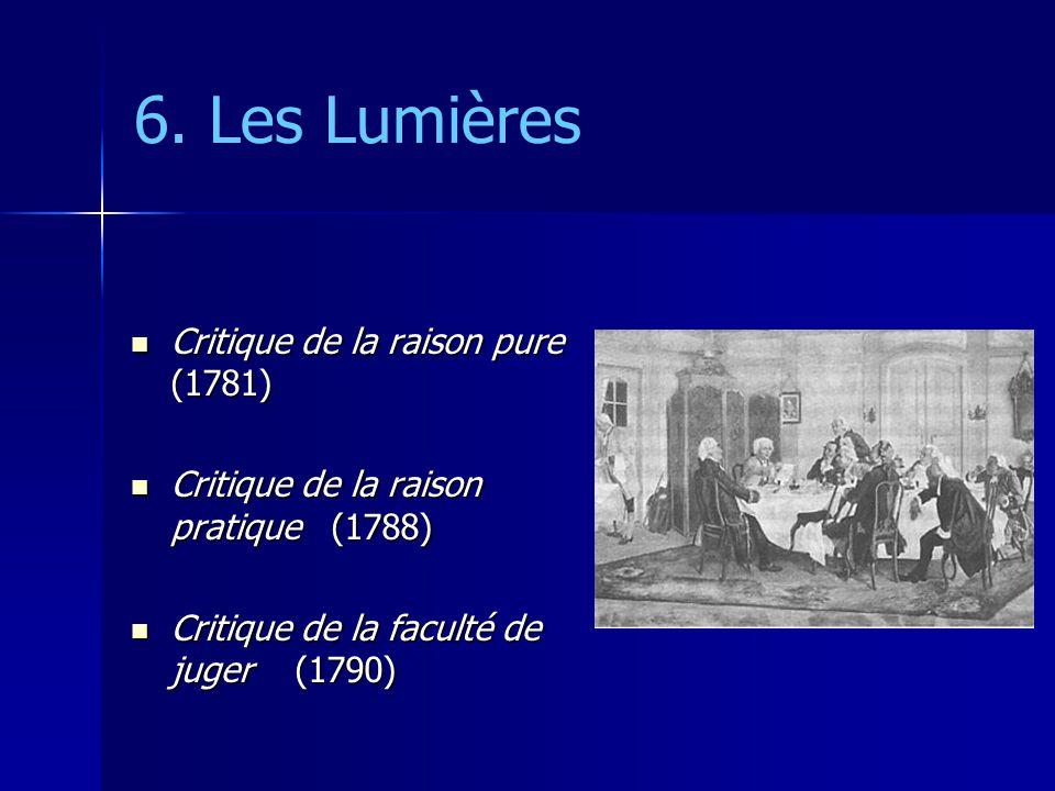 6. Les Lumières Critique de la raison pure (1781) Critique de la raison pure (1781) Critique de la raison pratique (1788) Critique de la raison pratiq