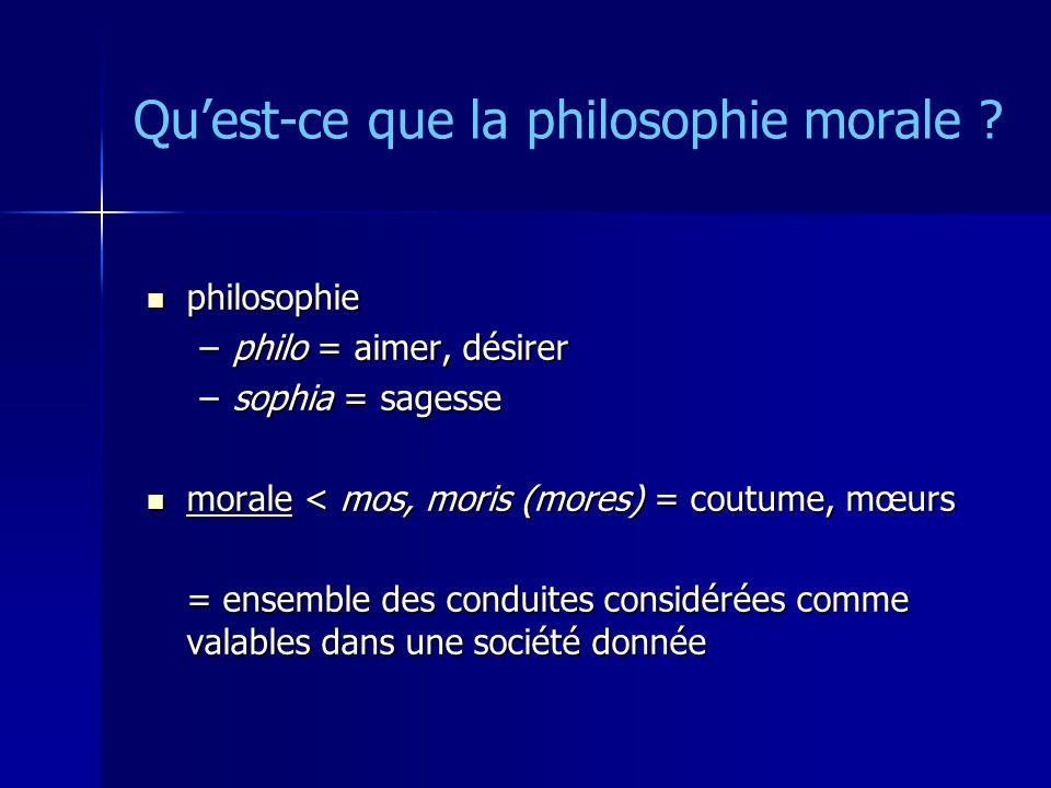 Quest-ce que la philosophie morale ? philosophie philosophie –philo = aimer, désirer –sophia = sagesse morale < mos, moris (mores) = coutume, mœurs mo