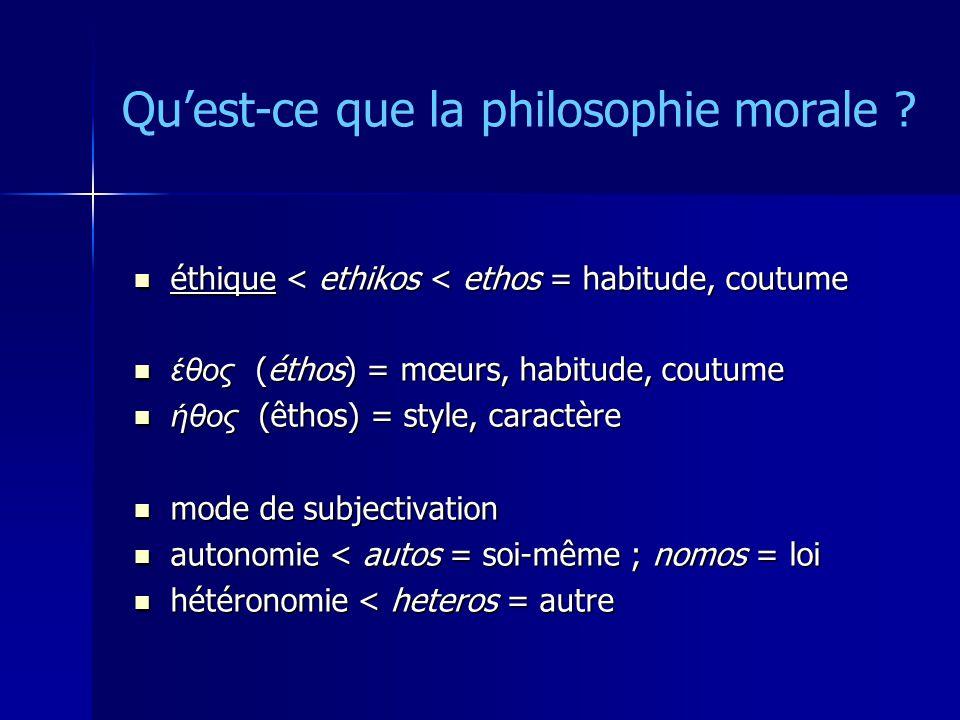 Quest-ce que la philosophie morale ? éthique < ethikos < ethos = habitude, coutume éthique < ethikos < ethos = habitude, coutume έθος (éthos) = mœurs,