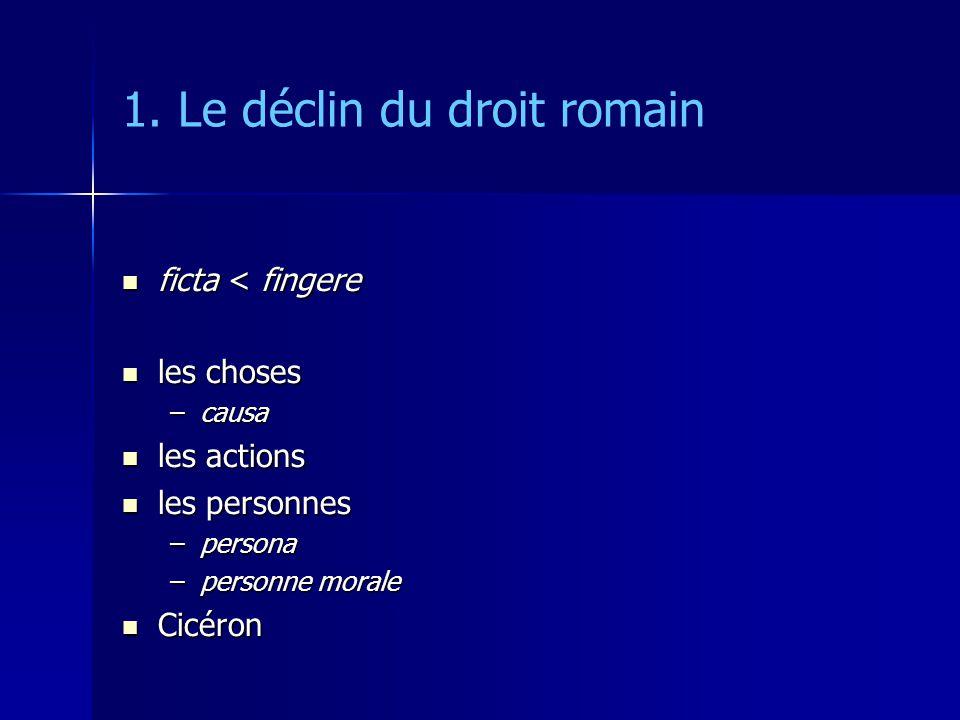 1. Le déclin du droit romain ficta < fingere ficta < fingere les choses les choses –causa les actions les actions les personnes les personnes –persona