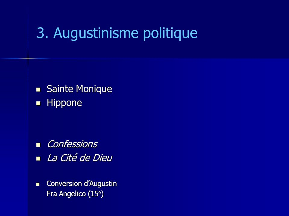 3. Augustinisme politique Sainte Monique Sainte Monique Hippone Hippone Confessions Confessions La Cité de Dieu La Cité de Dieu Conversion dAugustin C