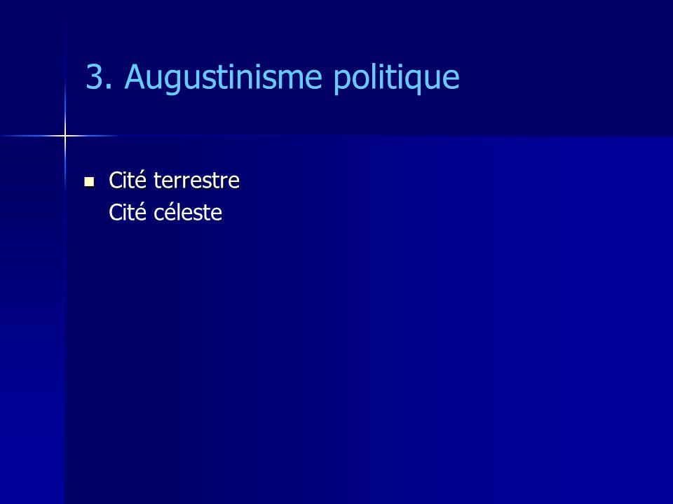 3. Augustinisme politique Cité terrestre Cité terrestre Cité céleste