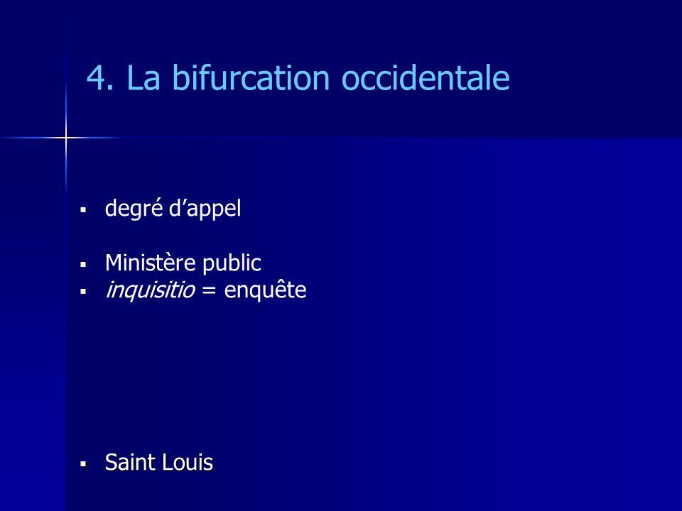 4. La bifurcation occidentale degré dappel Ministère public inquisitio = enquête Saint Louis Saint Louis