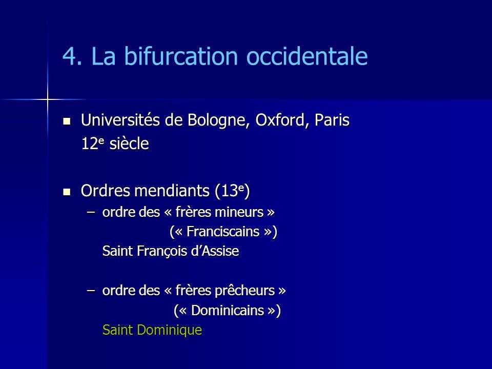 4. La bifurcation occidentale Universités de Bologne, Oxford, Paris Universités de Bologne, Oxford, Paris 12 e siècle Ordres mendiants (13 e ) Ordres