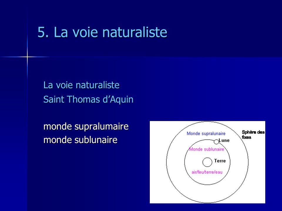 5. La voie naturaliste La voie naturaliste Saint Thomas dAquin monde supralumaire monde sublunaire