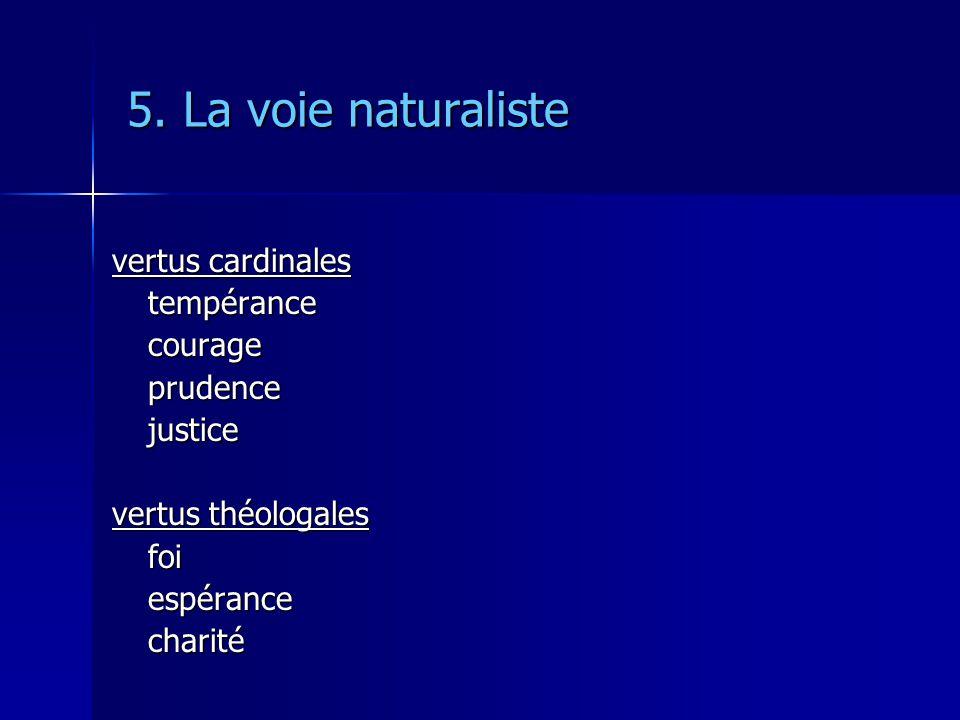 5. La voie naturaliste vertus cardinales tempérancecourageprudencejustice vertus théologales foiespérancecharité