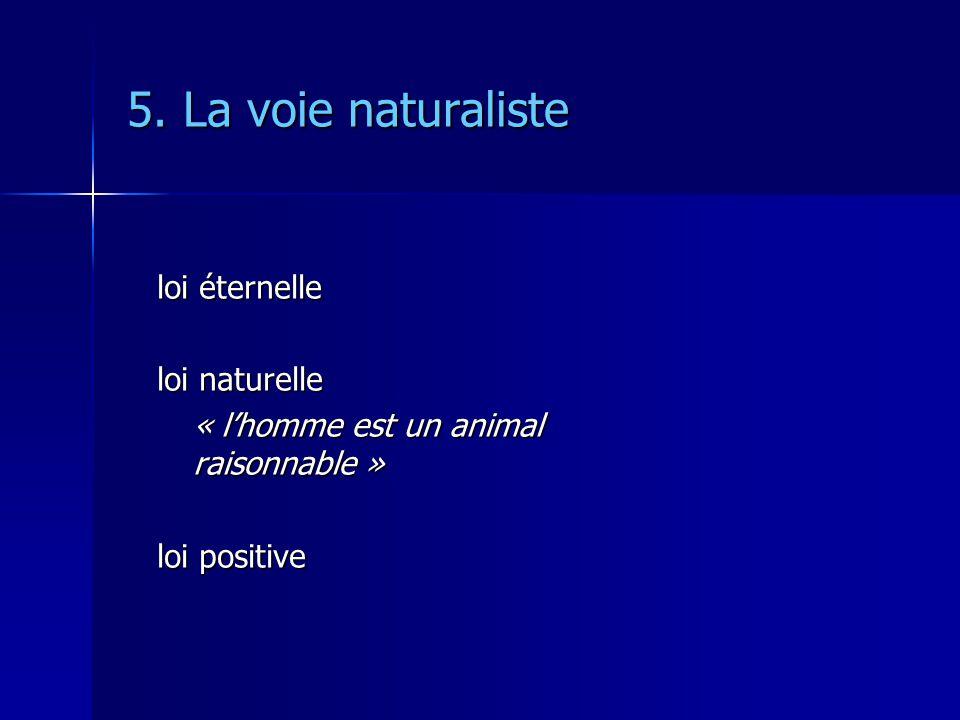 5. La voie naturaliste loi éternelle loi naturelle « lhomme est un animal raisonnable » loi positive