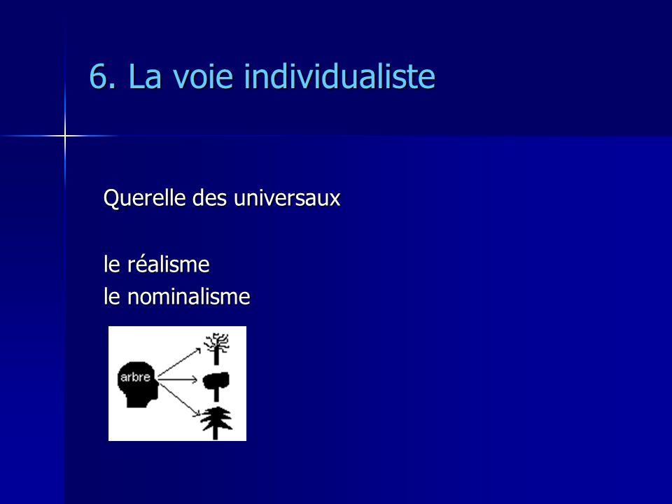 6. La voie individualiste Querelle des universaux le réalisme le nominalisme