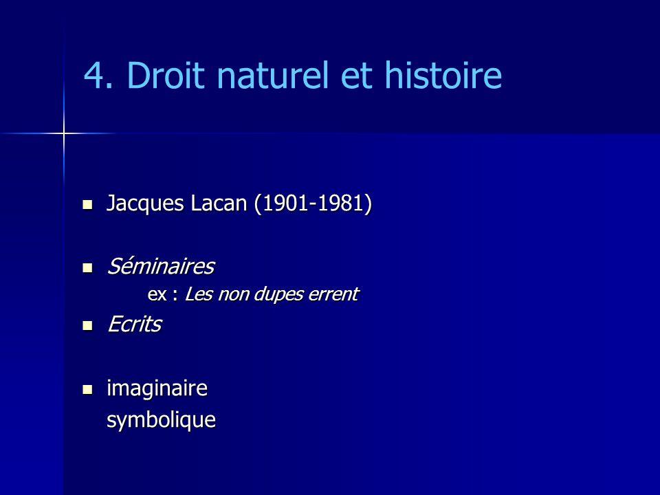 4. Droit naturel et histoire Jacques Lacan (1901-1981) Jacques Lacan (1901-1981) Séminaires Séminaires ex : Les non dupes errent Ecrits Ecrits imagina