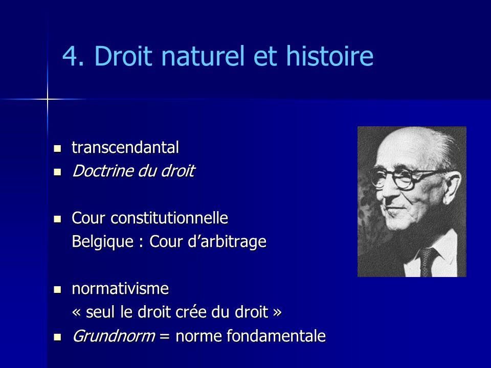 4. Droit naturel et histoire transcendantal transcendantal Doctrine du droit Doctrine du droit Cour constitutionnelle Cour constitutionnelle Belgique