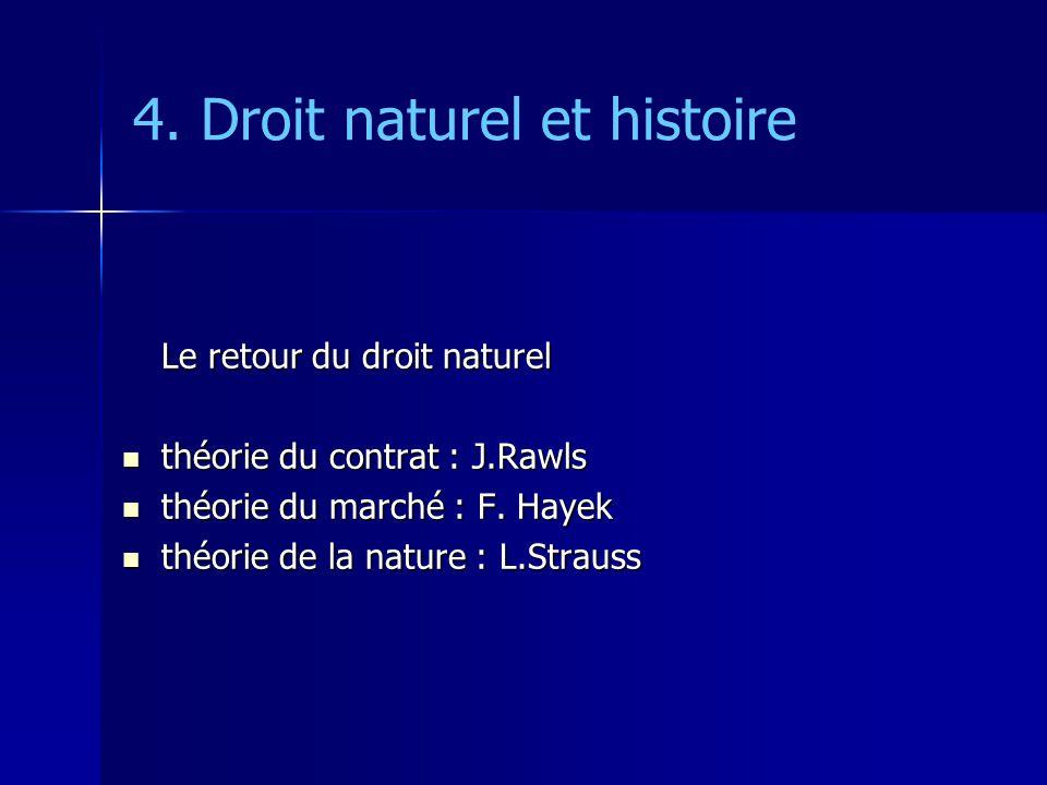 4. Droit naturel et histoire Le retour du droit naturel théorie du contrat : J.Rawls théorie du contrat : J.Rawls théorie du marché : F. Hayek théorie