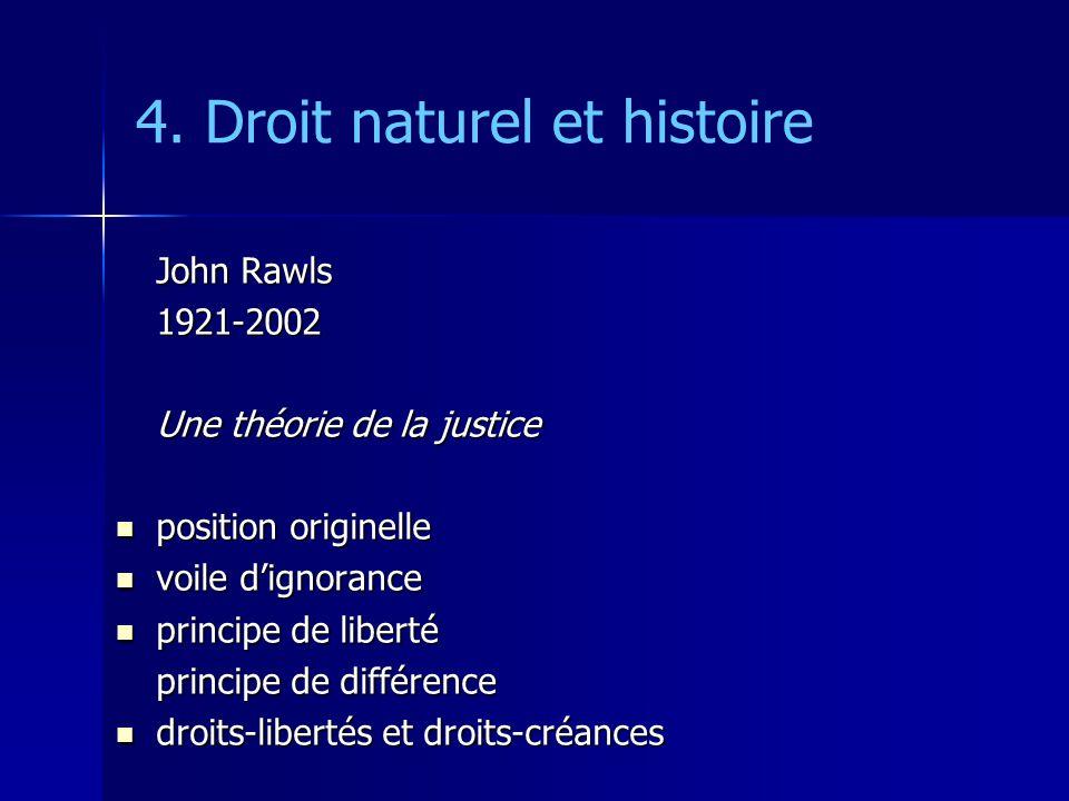 4. Droit naturel et histoire John Rawls 1921-2002 Une théorie de la justice position originelle position originelle voile dignorance voile dignorance