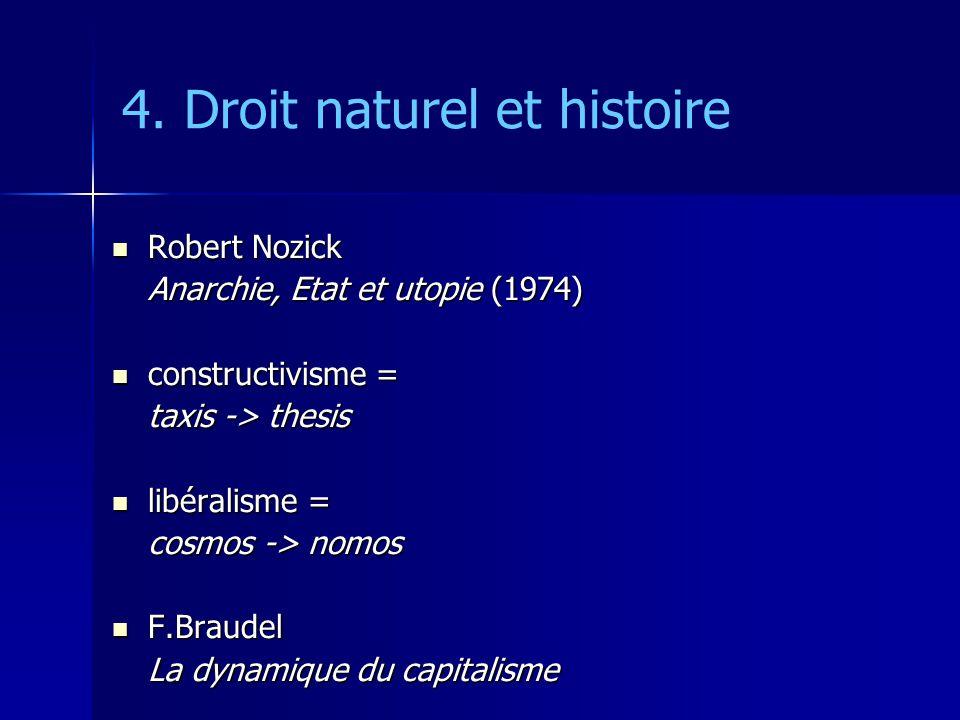 4. Droit naturel et histoire Robert Nozick Robert Nozick Anarchie, Etat et utopie (1974) constructivisme = constructivisme = taxis -> thesis libéralis