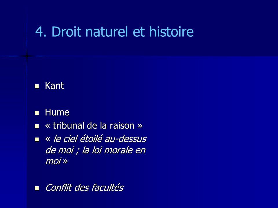 4. Droit naturel et histoire Kant Kant Hume Hume « tribunal de la raison » « tribunal de la raison » « le ciel étoilé au-dessus de moi ; la loi morale