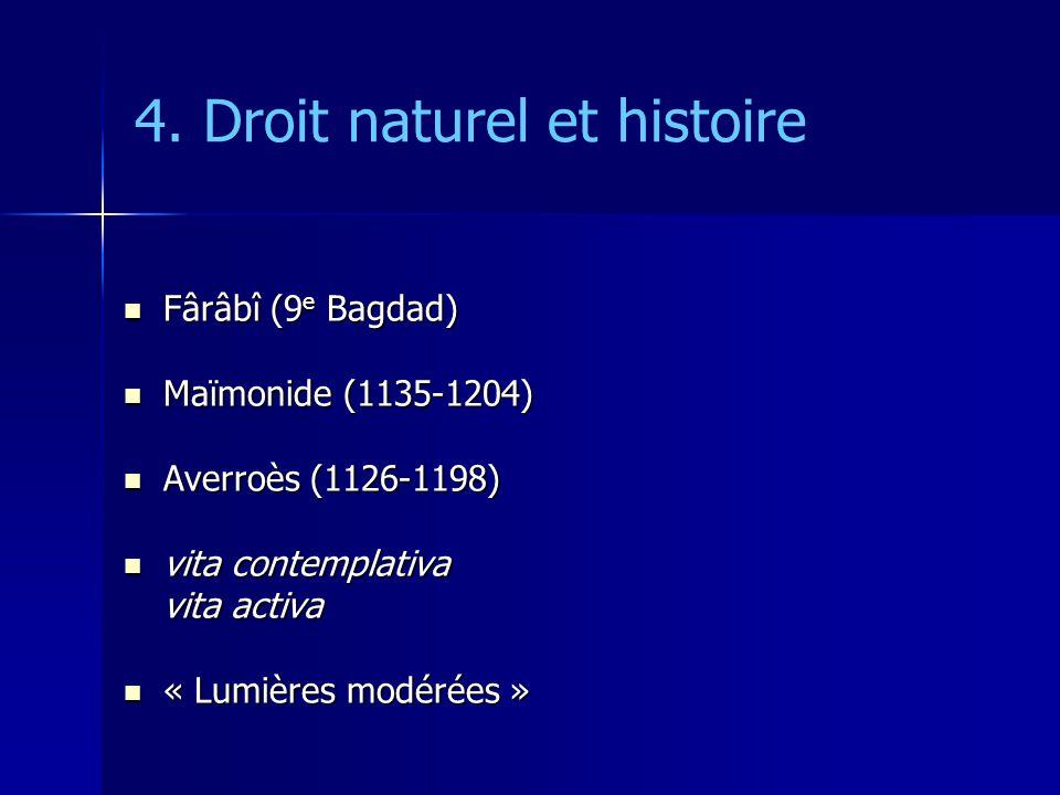 4. Droit naturel et histoire Fârâbî (9 e Bagdad) Fârâbî (9 e Bagdad) Maïmonide (1135-1204) Maïmonide (1135-1204) Averroès (1126-1198) Averroès (1126-1