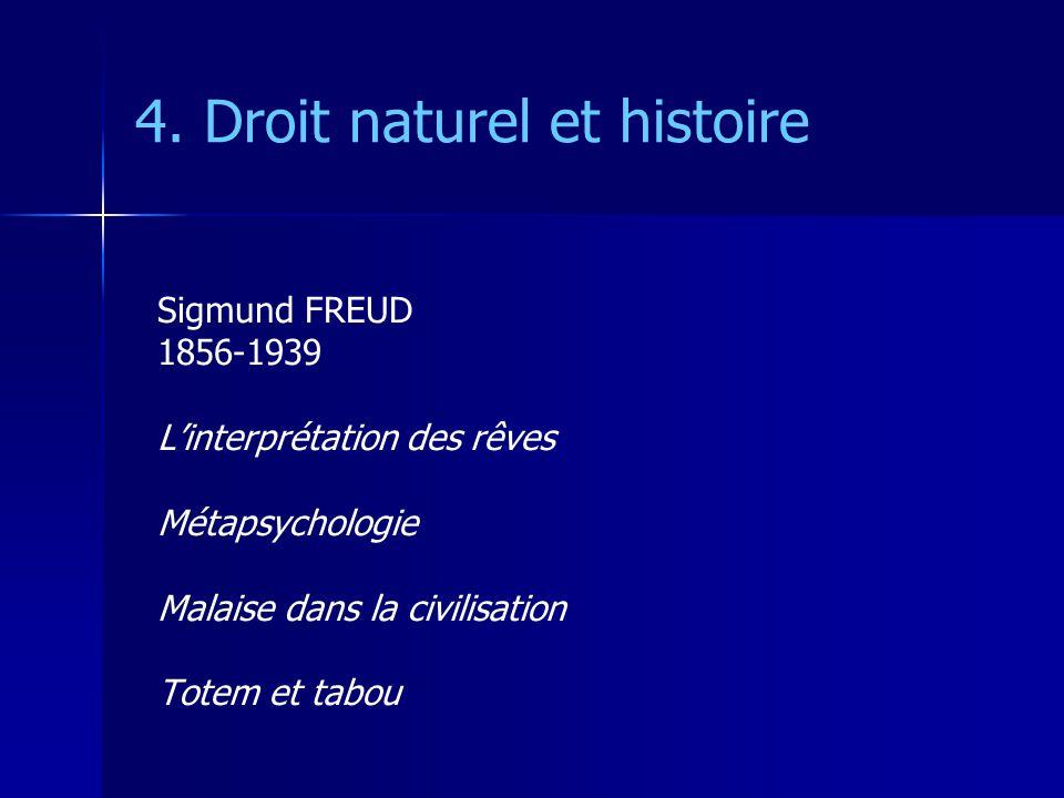 4. Droit naturel et histoire Sigmund FREUD 1856-1939 Linterprétation des rêves Métapsychologie Malaise dans la civilisation Totem et tabou
