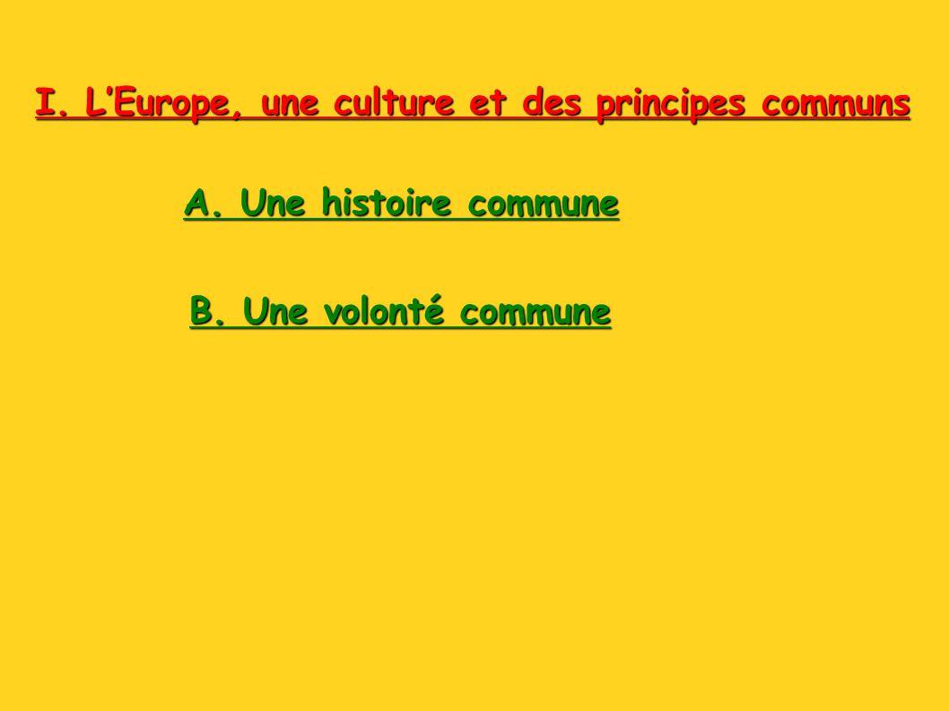 I. LEurope, une culture et des principes communs A. Une histoire commune B. Une volonté commune