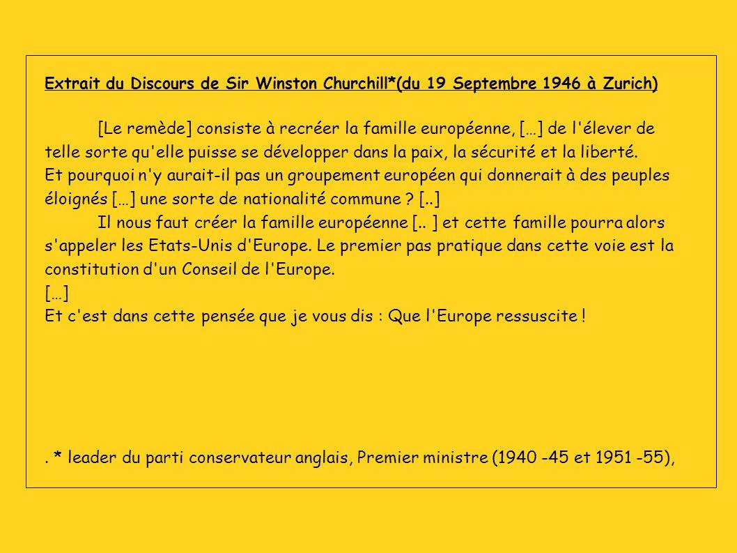 Extrait du Discours de Sir Winston Churchill*(du 19 Septembre 1946 à Zurich) [Le remède] consiste à recréer la famille européenne, […] de l'élever de
