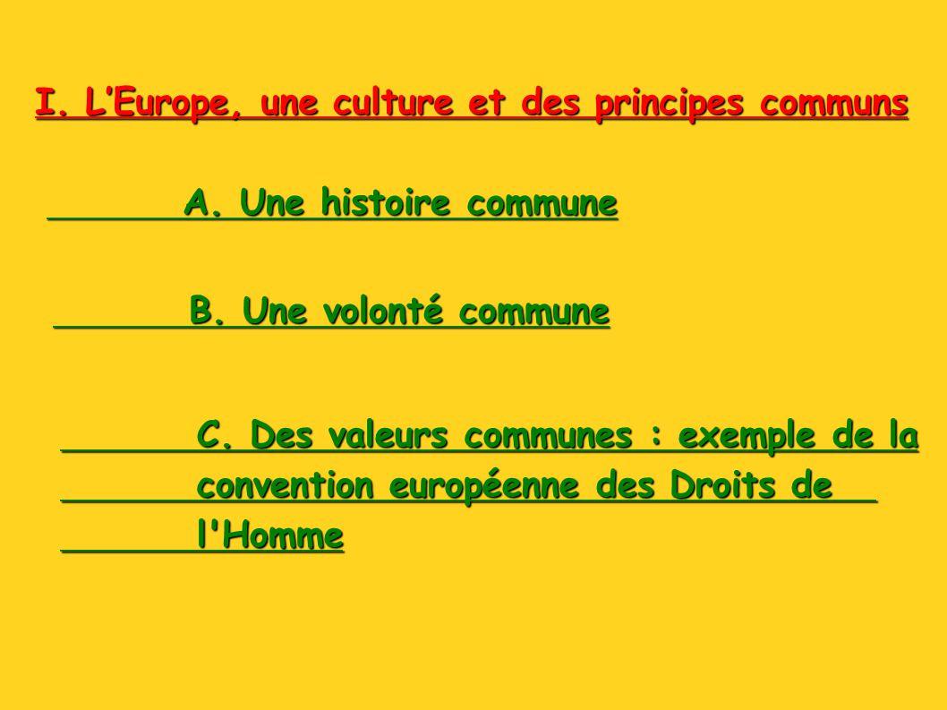 I. LEurope, une culture et des principes communs A. Une histoire commune B. Une volonté commune C. Des valeurs communes : exemple de la convention eur