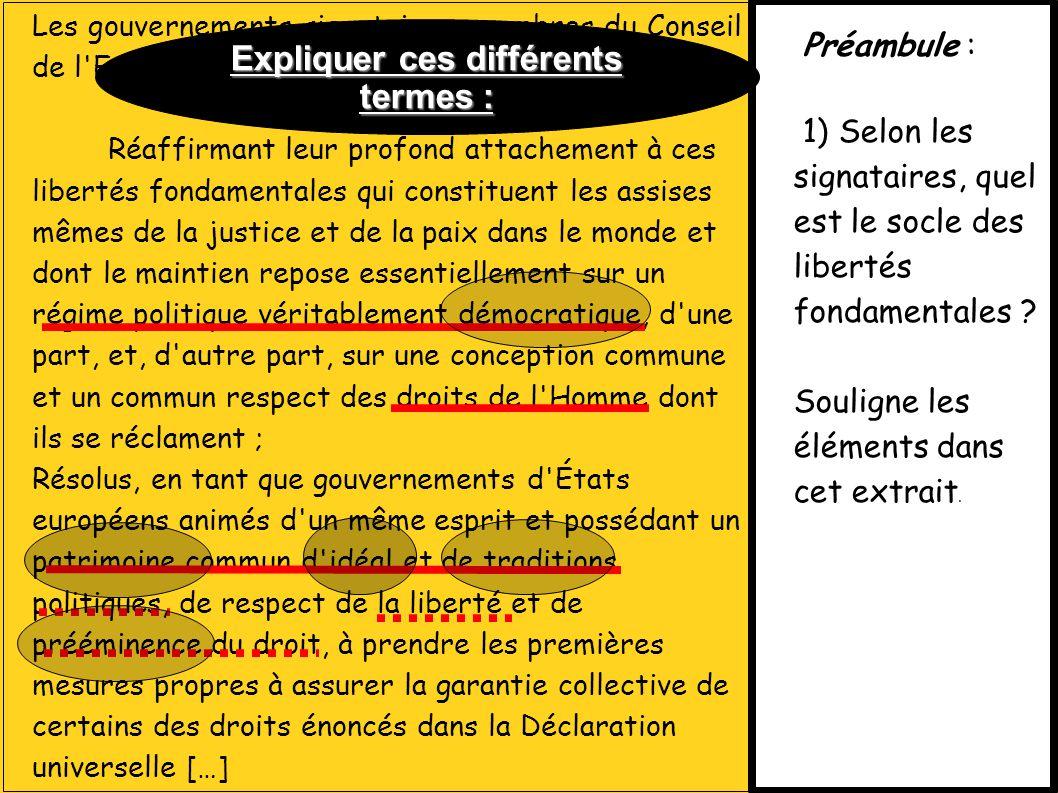 Les gouvernements signataires, membres du Conseil de l'Europe.[…] Réaffirmant leur profond attachement à ces libertés fondamentales qui constituent le