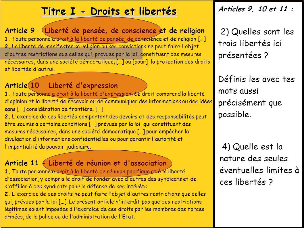 Titre I - Droits et libertés Article 9 - Liberté de pensée, de conscience et de religion 1. Toute personne a droit à la liberté de pensée, de conscien