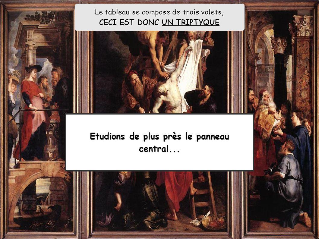 La descente de Croix P-P Rubens (1614 ; huile sur bois; 420 x 310 cm, cathédrale d Anvers) Nous pouvons y retrouver les mêmes caractéristiques que dans l architecture et la sculpture, à vous de jouer: :