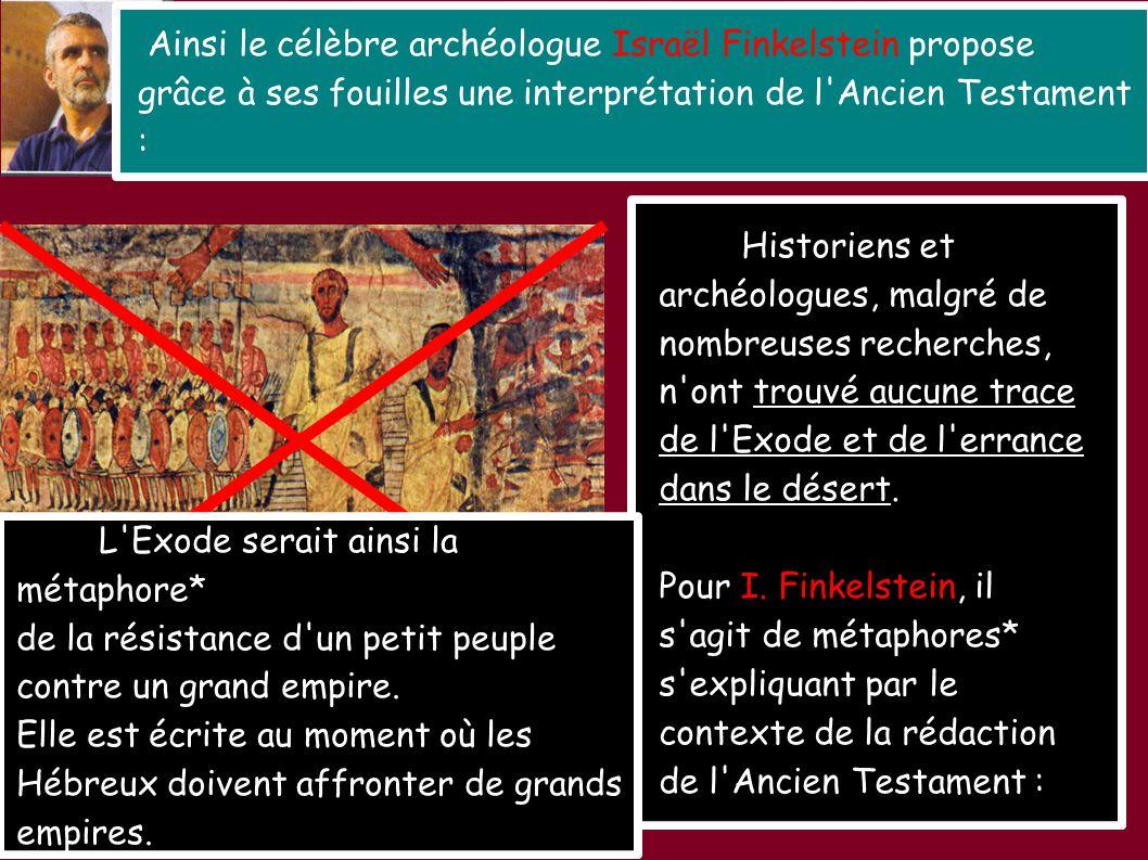 Moïse et la traversée de la Mer Rouge (synagogue de Doura Europos; Syrie actuelle) Ainsi le célèbre archéologue Israël Finkelstein propose grâce à ses
