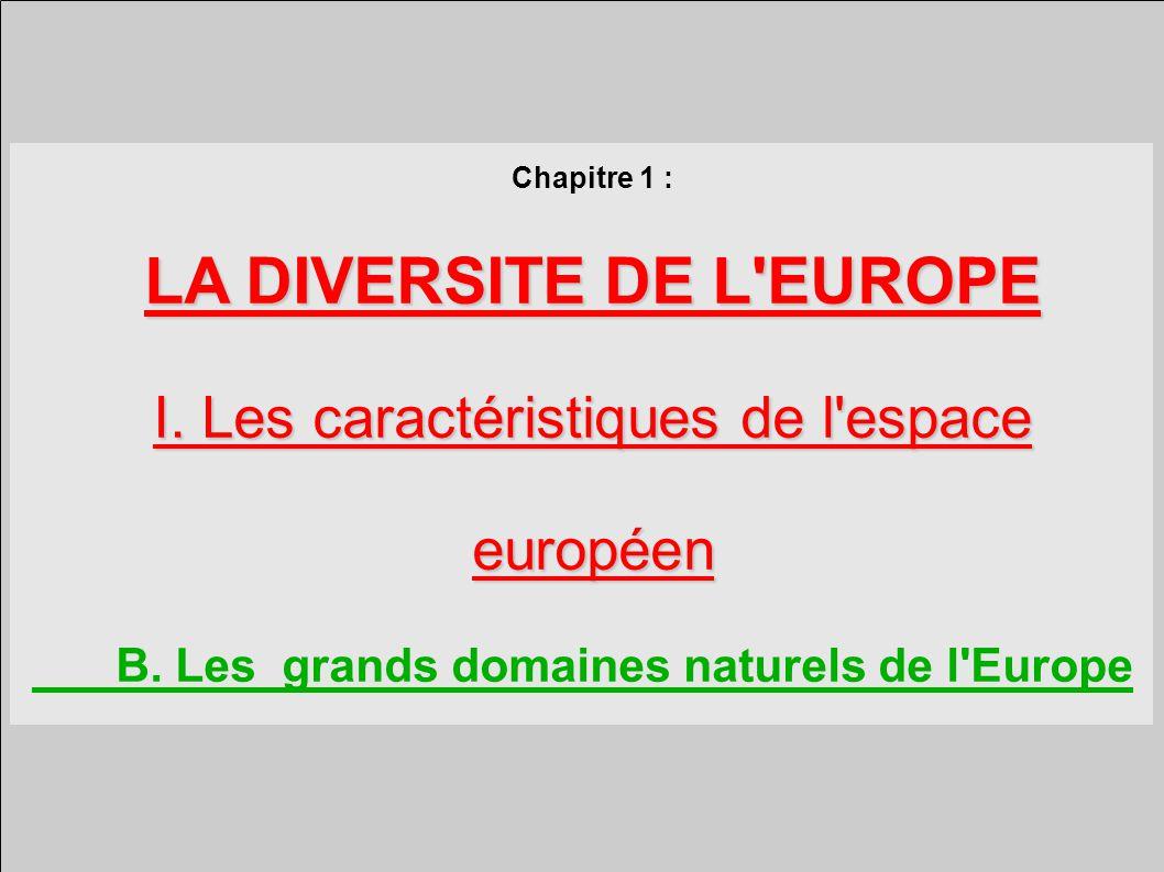 Chapitre 1 : LA DIVERSITE DE L EUROPE I.Les caractéristiques de l espace européen B.
