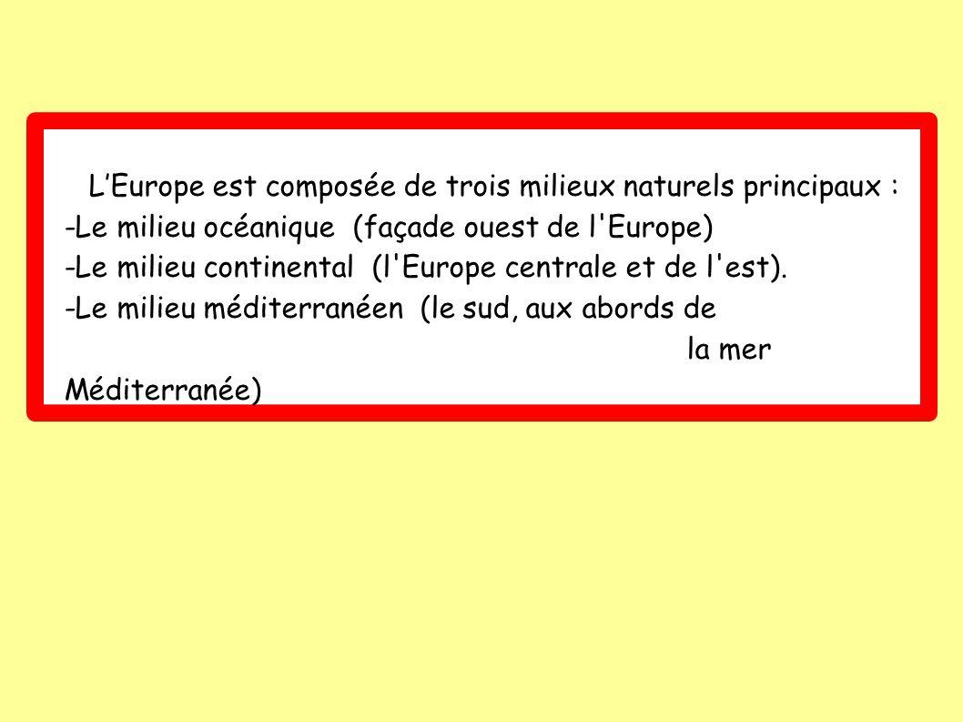 LEurope est composée de trois milieux naturels principaux : -Le milieu océanique (façade ouest de l Europe) -Le milieu continental (l Europe centrale et de l est).