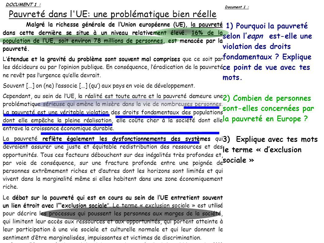 DOCUMENT 1 : Pauvreté dans l UE: une problématique bien réelle Malgré la richesse générale de lUnion européenne (UE), la pauvreté dans cette dernière se situe à un niveau relativement élevé.