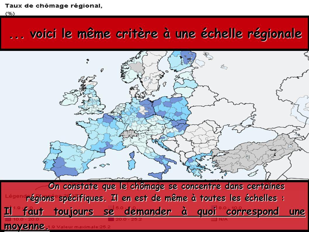 ... voici le même critère à une échelle régionale On constate que le chômage se concentre dans certaines régions spécifiques. Il en est de même à tout