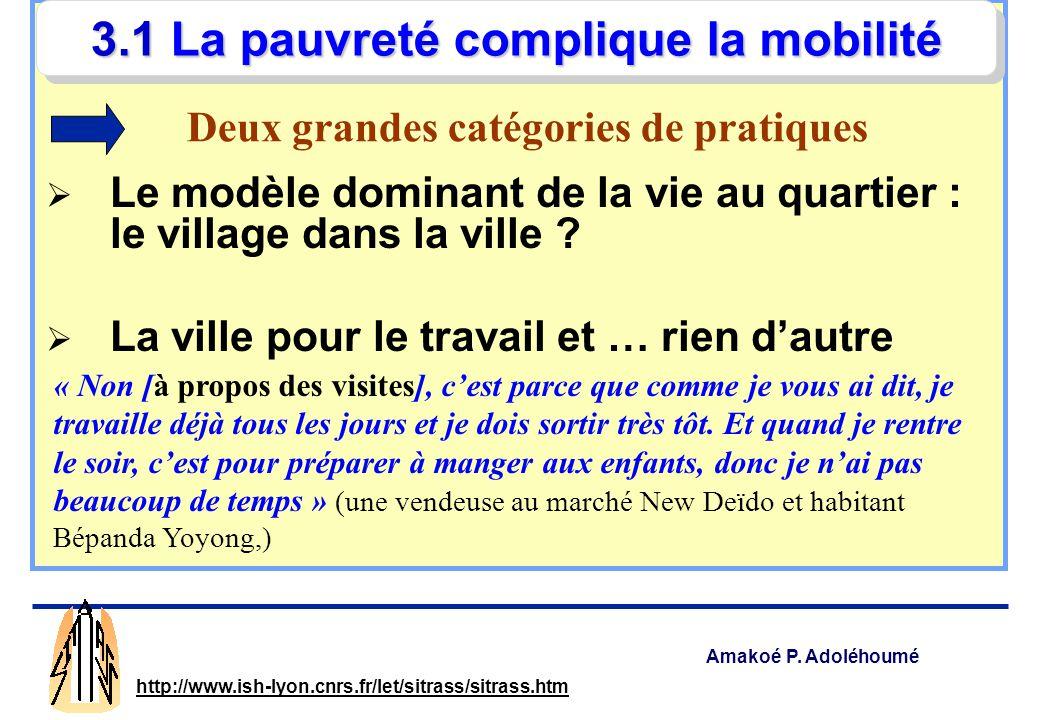 Amakoé P. Adoléhoumé http://www.ish-lyon.cnrs.fr/let/sitrass/sitrass.htm Les pauvres ne se déplacent pas moins, ils se déplacent dans de moins bonnes
