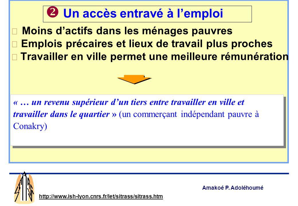 Amakoé P. Adoléhoumé http://www.ish-lyon.cnrs.fr/let/sitrass/sitrass.htm 23 % du budget des ménages pauvres 30 % et plus pour le quart dentre eux 16 %