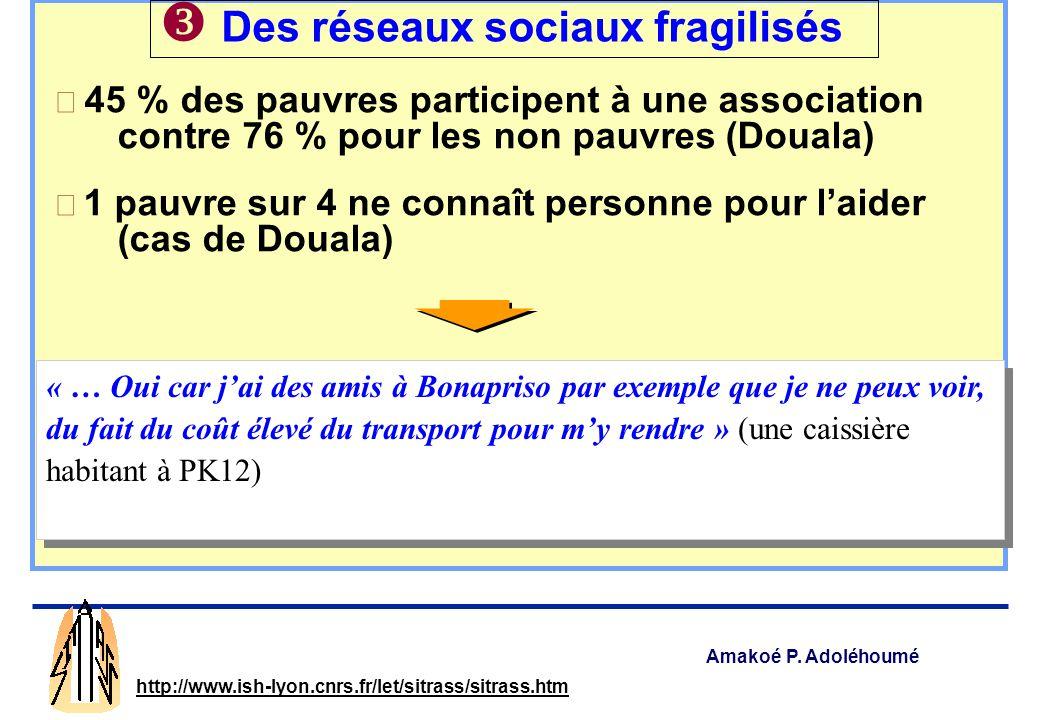 Amakoé P. Adoléhoumé http://www.ish-lyon.cnrs.fr/let/sitrass/sitrass.htm Moins dactifs dans les ménages pauvres Emplois précaires et lieux de travail