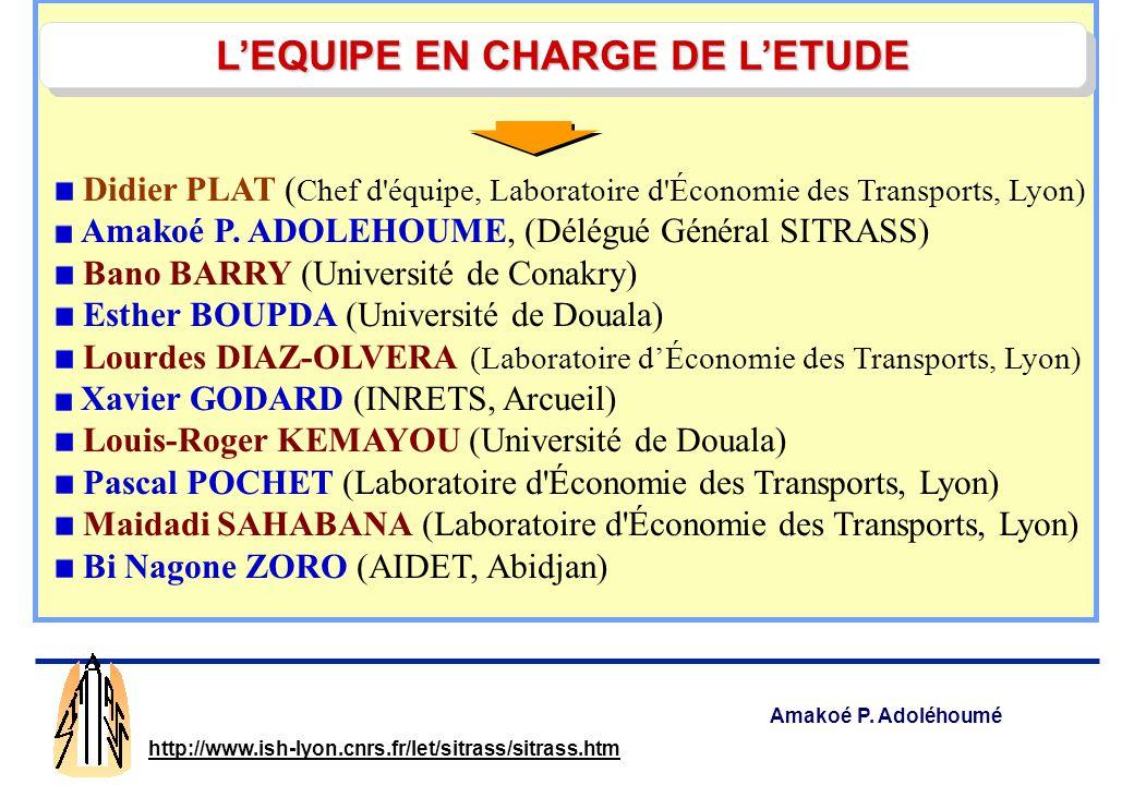 Amakoé P. Adoléhoumé http://www.ish-lyon.cnrs.fr/let/sitrass/sitrass.htm SSATP-MU SITRASS Addis Abeba, 25 sept. – 1 oct. 2004 PAUVRETÉ ET MOBILITÉ URB