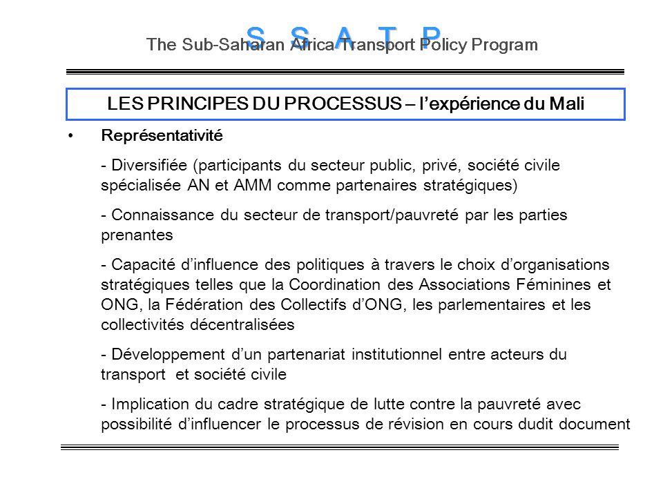 LES PRINCIPES DU PROCESSUS – lexpérience du Mali Représentativité - Diversifiée (participants du secteur public, privé, société civile spécialisée AN et AMM comme partenaires stratégiques) - Connaissance du secteur de transport/pauvreté par les parties prenantes - Capacité dinfluence des politiques à travers le choix dorganisations stratégiques telles que la Coordination des Associations Féminines et ONG, la Fédération des Collectifs dONG, les parlementaires et les collectivités décentralisées - Développement dun partenariat institutionnel entre acteurs du transport et société civile - Implication du cadre stratégique de lutte contre la pauvreté avec possibilité dinfluencer le processus de révision en cours dudit document