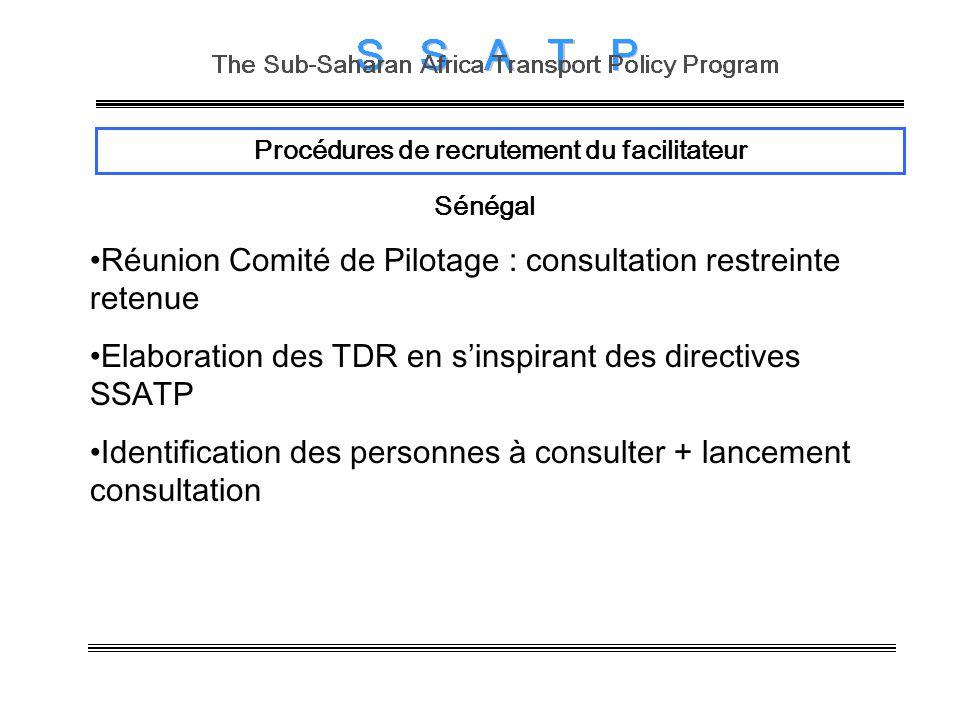 Procédures de recrutement du facilitateur Sénégal Réunion Comité de Pilotage : consultation restreinte retenue Elaboration des TDR en sinspirant des directives SSATP Identification des personnes à consulter + lancement consultation