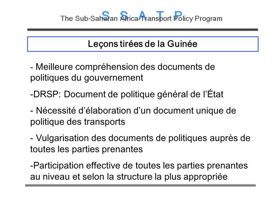 Leçons tirées de la Guinée - Meilleure compréhension des documents de politiques du gouvernement -DRSP: Document de politique général de lÉtat - Néces
