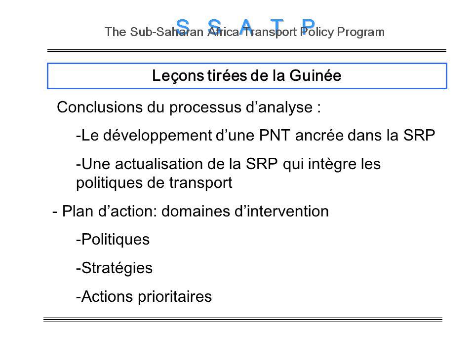 Leçons tirées de la Guinée Conclusions du processus danalyse : -Le développement dune PNT ancrée dans la SRP -Une actualisation de la SRP qui intègre les politiques de transport - Plan daction: domaines dintervention -Politiques -Stratégies -Actions prioritaires