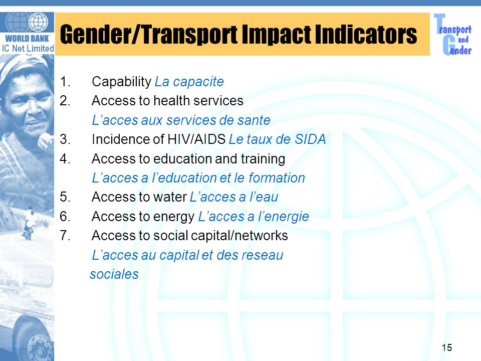 IC Net Limited 15 Gender/Transport Impact Indicators 1.Capability La capacite 2.Access to health services Lacces aux services de sante 3.Incidence of HIV/AIDS Le taux de SIDA 4.Access to education and training Lacces a leducation et le formation 5.Access to water Lacces a leau 6.Access to energy Lacces a lenergie 7.Access to social capital/networks Lacces au capital et des reseau sociales