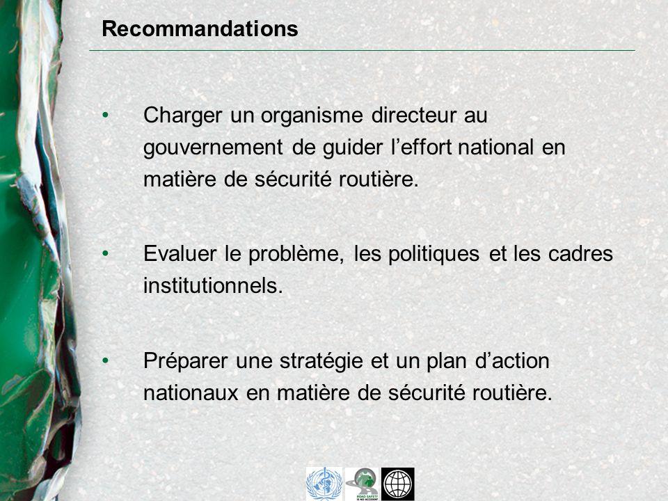 Charger un organisme directeur au gouvernement de guider leffort national en matière de sécurité routière.