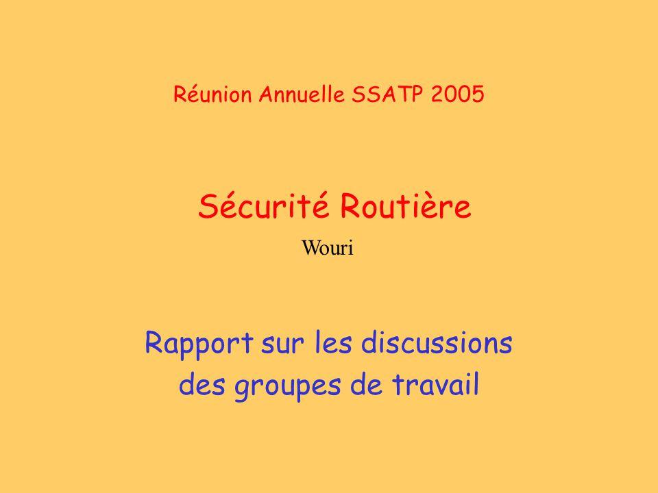 Réunion Annuelle SSATP 2005 Sécurité Routière Rapport sur les discussions des groupes de travail Wouri