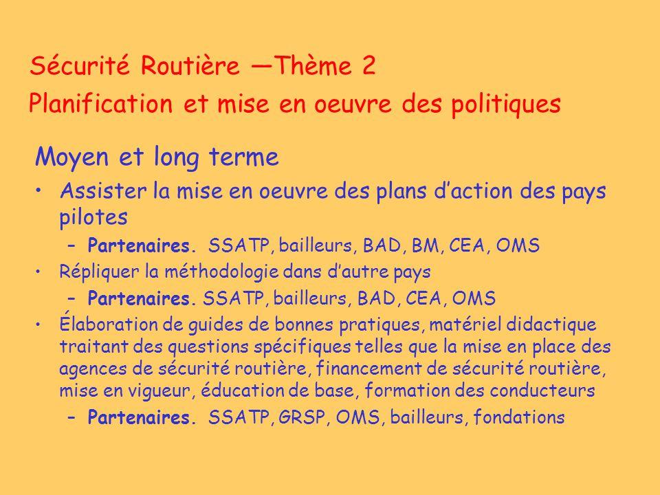 Sécurité Routière Thème 2 Planification et mise en oeuvre des politiques Moyen et long terme Assister la mise en oeuvre des plans daction des pays pil