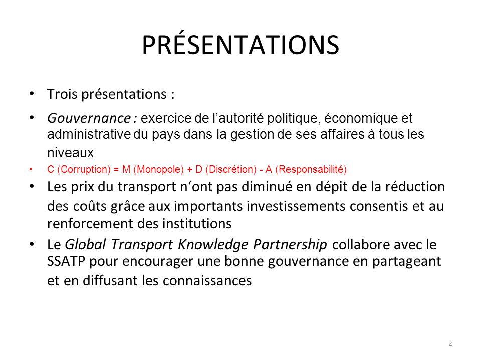 Les résultats du questionnaire (%) QuestionOuiPartielle ment NonAbsten tion (a) La Gouvernance et lIntégrité (GAI) sont essentielles dans chacun des 3 thématiques du SSATP 94222 (b) Le rôle de la GAI est-il compris des décideurs politiques.