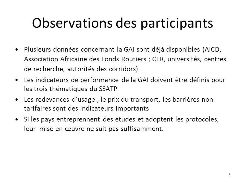 Observations des participants Plusieurs données concernant la GAI sont déjà disponibles (AICD, Association Africaine des Fonds Routiers ; CER, univers