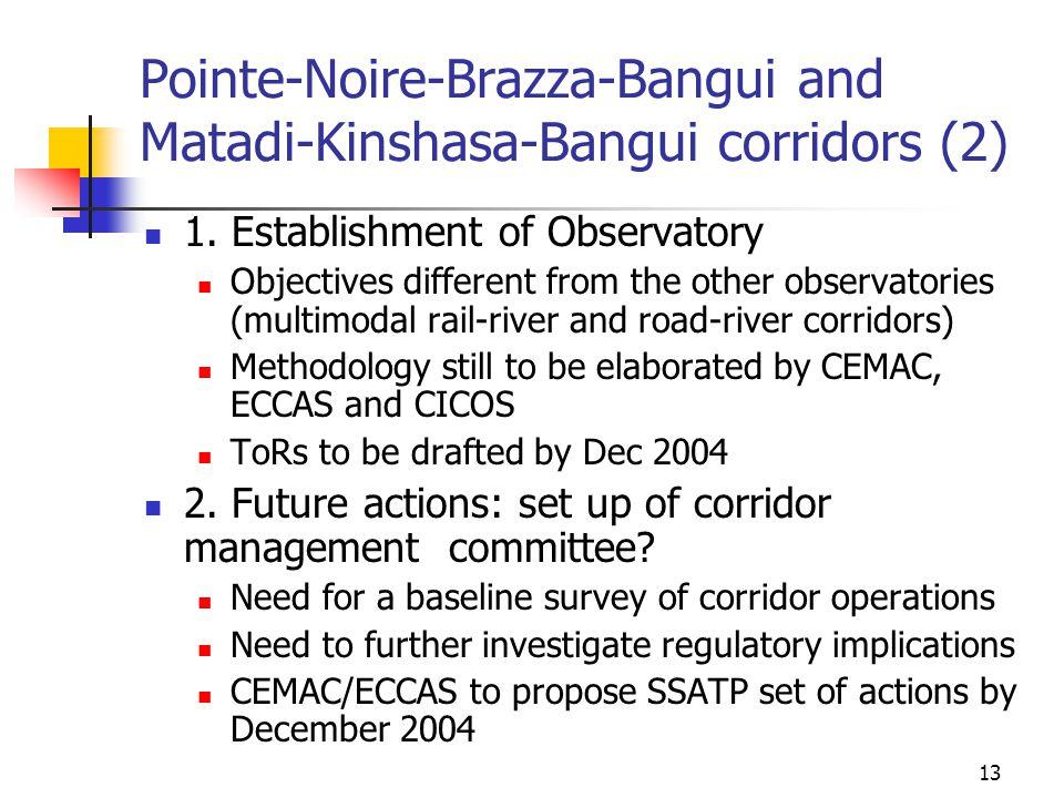13 Pointe-Noire-Brazza-Bangui and Matadi-Kinshasa-Bangui corridors (2) 1. Establishment of Observatory Objectives different from the other observatori