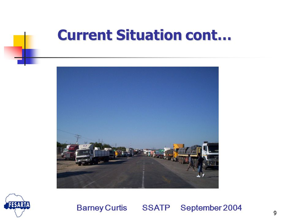9 Current Situation cont… Barney Curtis SSATP September 2004
