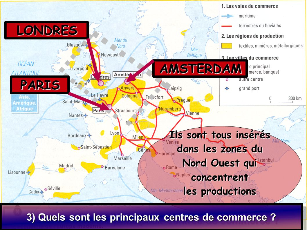 Ils sont tous insérés dans les zones du Nord Ouest qui concentrent les productions 3) Quels sont les principaux centres de commerce ? LONDRES PARIS AM